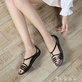 夏季新款涼鞋女平底沙灘鞋洞洞鞋露趾魚嘴塑料涼鞋女大碼果凍鞋 時尚潮流