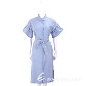 Max Mara-WEEKEND 刺繡蝴蝶藍白條紋襯衫式綁腰洋裝 1820157-77