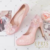 現貨 甜美系夢幻婚鞋推薦 繽紛女神 飾扣組合多變婚鞋 好走不磨腳 21-26 EPRIS艾佩絲-甜美粉