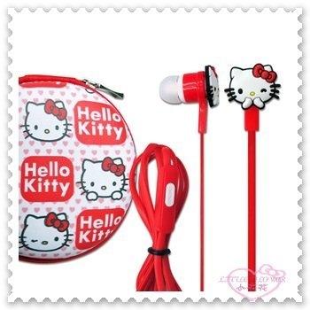 ♥小花花日本精品♥ Hello Kitty 入耳式 立體聲耳機 線控 附收納盒 附麥克風 00413107