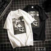 夏季港風印花白色短袖t恤男圓領加肥加大碼半袖打底衫上衣潮男裝  米娜小鋪
