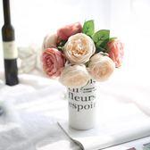 歐式仿真玫瑰花束客廳臥室辦公桌家居裝飾擺件假花絹花插花     韓小姐