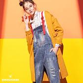 【SHOWCASE】潮流丹寧大口袋刷破配色吊帶牛仔褲(藍)