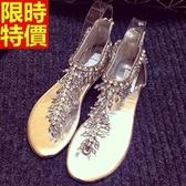 涼鞋-平底串珠水鑽T型綁帶夾腳女休閒鞋2色67d6【巴黎精品】
