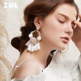歐美夸張大氣圓圈花朵耳環女氣質個性長款白色流蘇耳飾耳墜 DN19996『寶貝兒童裝』
