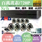 高雄/台南/屏東監視器/1080PAHD/到府安裝/8ch監視器/130萬半球攝影機720P*8支標準安裝!非完工價!