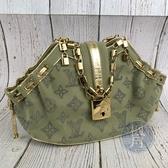 BRAND楓月 LOUIS VUITTON LV M92373 限量 淺綠 蘋果綠 水鑽原花 金鍊 鎖頭 小包 手提包