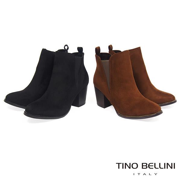 ★零碼出清★Tino Bellini流行不敗側V彈性高跟短靴_棕  A69069 2016AW