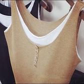 大碼背心復古素色寬鬆夏季外穿假兩件女打底衫棉麻針織衫上衣吊帶【時尚大衣櫥】