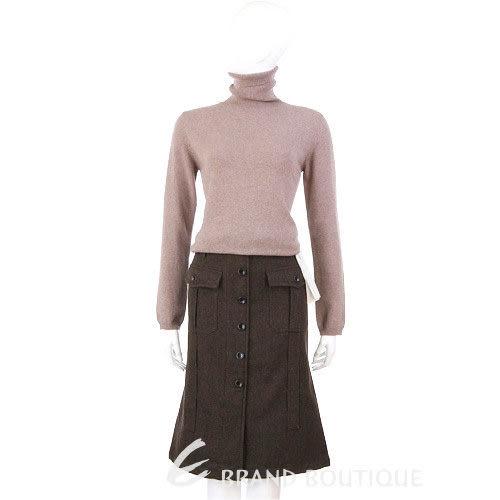 HACHE 咖啡色排釦造型毛料及膝裙 0590031-07