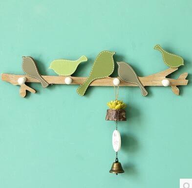 歐式田園創意木質掛鉤牆飾5隻小鳥立體牆上裝飾傢居客廳壁掛