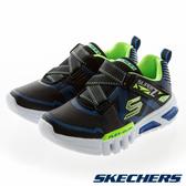 SKECHERS FLEX GLOW 黑藍 燈鞋 Z字型魔鬼氈 運動鞋 中童鞋 NO.R4623