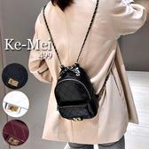 克妹Ke-Mei【ZT68129】採購重推!Chic金屬鍊條經典菱格皮革後背包
