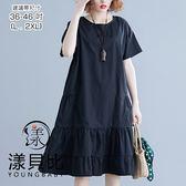 【YOUNGBABY中大碼】圓領下接荷葉邊純色洋裝.黑