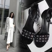 手工真皮大尺碼女鞋34~43 2020歐美明星款仙女風百搭牛皮方頭高跟涼鞋~黑色