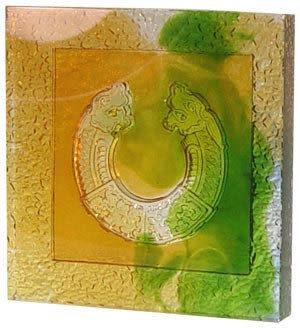 鹿港窯~居家開運琉璃磚【美壁雙龍(陰雕)】( 14.5X14.5cm ) 附古法製作珍藏保證卡◆免運費送到家