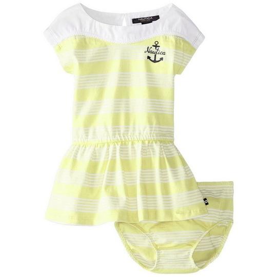 【北投之家】女寶寶洋裝二件組 短袖裙子+內褲 黃橫條 | Nautica童裝 (嬰幼兒/兒童/小孩)