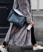 ■專櫃78折 ■Chloe Faye 麂皮掀蓋平滑小牛皮斜背包 Silver BLUE