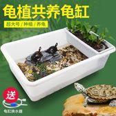 現貨 烏龜缸帶曬台大型特大號龜箱別墅生態水陸缸巴西龜草龜鱷龜養龜缸  DF  11-14
