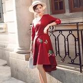 現貨紅M長袖洋裝連身裙禮服25715