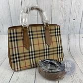 BRAND楓月 BURBERRY 巴寶莉 經典格紋 拼接皮革 戰馬刺繡 兩用包 側背包 手提包