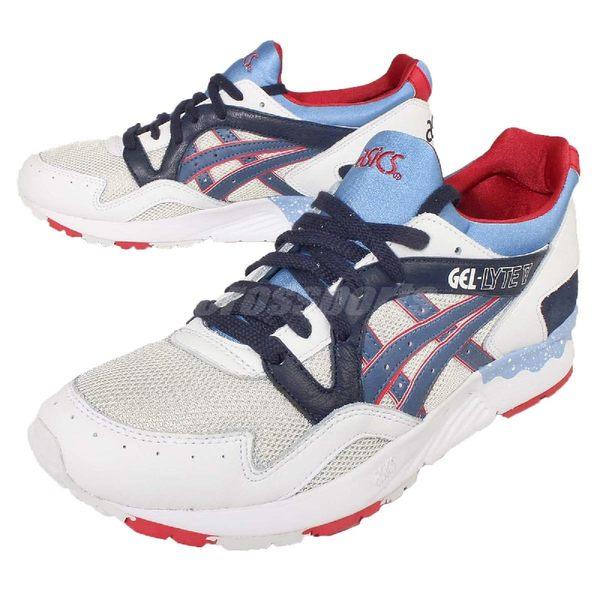 【五折特賣】 亞瑟士 Asics Gel-Lyte V Tiger 低筒 運動鞋 慢跑 白 藍 男鞋【PUMP306】H5Z9L1050