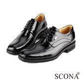 SCONA 全真皮 義式時尚綁帶紳士鞋 黑色 0763-1