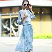 洋裝-蕾絲顯瘦中長裙印花修身五分袖連身裙2色72f5[巴黎精品]