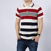 純棉POLO衫短袖條紋翻領休閒上衣 大尺碼t恤【非凡上品】q913