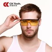 Ck夜視增亮護目鏡防護眼鏡防風沙勞保騎行黃鏡片夜間夜晚騎行眼鏡