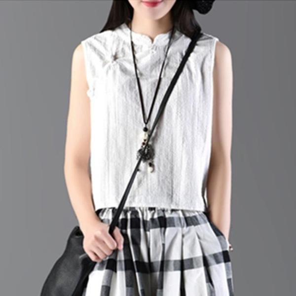 棉麻背心女復古大碼女裝夏季外穿亞麻無袖短款盤扣寬鬆民族風上衣 「雙10特惠」