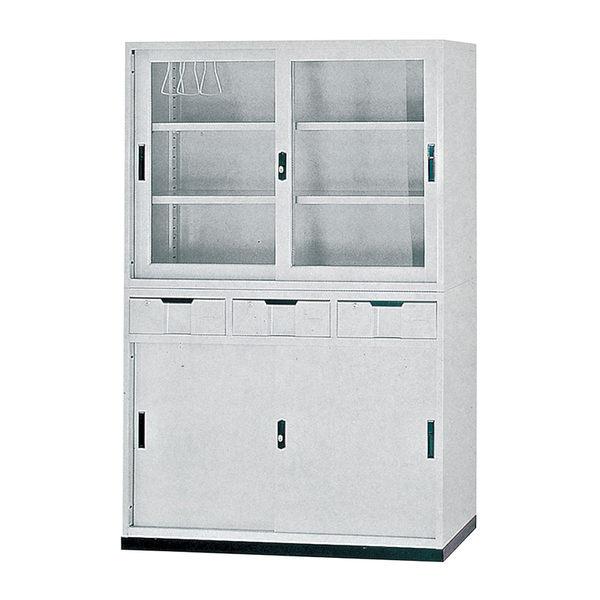 【森可家居】4尺玻璃拉門公文櫃上座 7JX284-2 理想櫃 資料櫃 檔案櫃