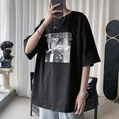 短袖T恤 T恤男ins潮流暗黑系短袖韓版寬松夜店印花五分袖體恤上衣