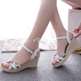 現貨出清時尚甜美韓版一字搭扣防水臺高跟魚嘴坡跟涼鞋女鞋子 7-20