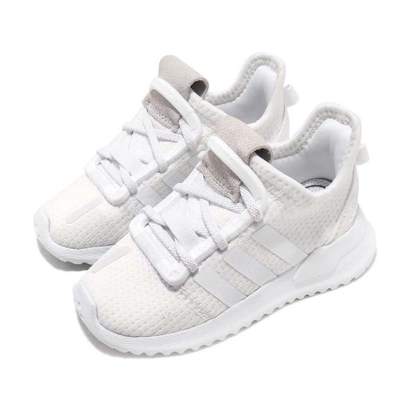 adidas 休閒鞋 U_Path Run I 白 全白 童鞋 小童鞋 襪套式 復古慢跑鞋 運動鞋【PUMP306】 G28119