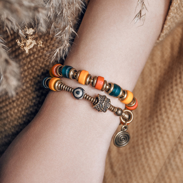 琉璃珠子雙層串珠手鍊個性復古情侶手飾/設計家