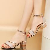 涼鞋 夏季新款百搭韓版高跟鞋中跟仙女一字帶粗跟羅馬鞋子【快速出貨八五鉅惠】