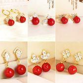 氣質新娘結婚皇冠紅色珍珠耳夾無耳洞假耳環耳釘耳飾韓國飾品