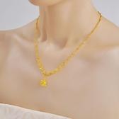 全館83折 999鍍金項鍊24K黃金熱賣不掉色越南沙金項鍊 歐幣玫瑰花 女首飾品