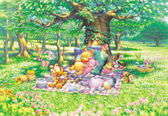 【拼圖總動員 PUZZLE STORY】Disney-悠閒的午後 日系/Tenyo/迪士尼/小熊維尼/300P