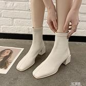英倫風加絨方頭短靴女2020秋冬季新款馬丁靴短筒瘦瘦靴粗跟棉靴子 3C優購