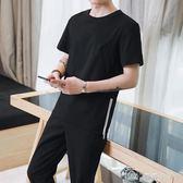 男裝修身潮流運動運動套裝男士夏季韓版短袖t恤兩件套潮 全網最低價下殺