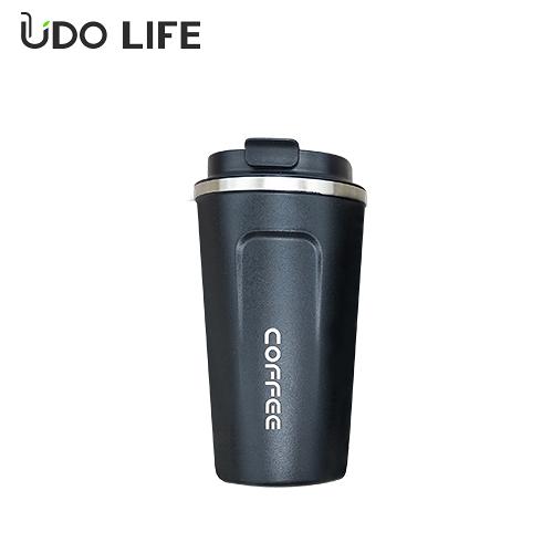 【優多生活】不鏽鋼翻蓋咖啡保溫杯(黑色510ml)