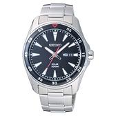 SEIKO 俐落時尚型男太陽能腕錶-銀X黑