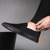 帆布鞋男鞋子春季布鞋休閒壹腳蹬懶人板鞋【橘社小鎮】