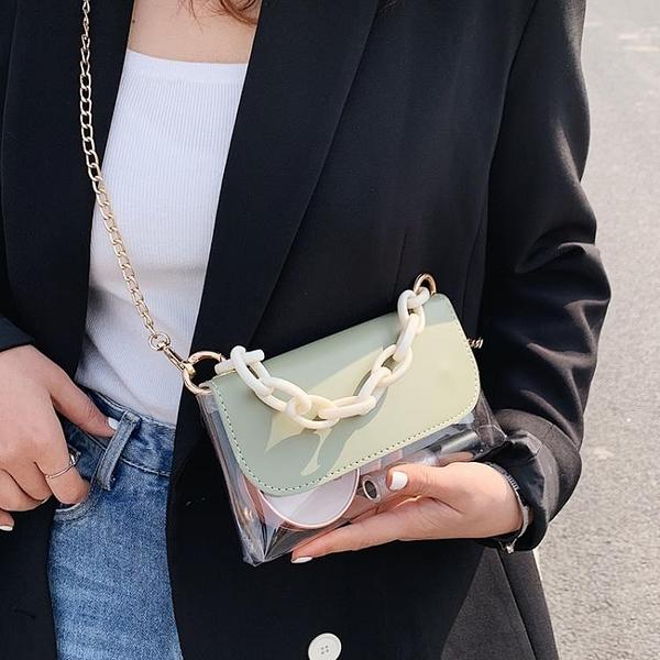 高級感小包包女新款潮腋下單肩錬條包果凍透明網紅斜挎包 伊衫風尚