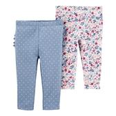 【美國 Carter's】純棉長褲2件組 - 藍色點點花卉 #1I721510