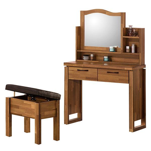 【森可家居】克里斯2.7尺鏡台(含椅) 8ZX376-3 北歐工業風 木紋質感 梳化妝檯 MIT台灣製造