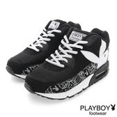 PLAYBOY 玩色潮流 線條拼接氣墊運動鞋-黑