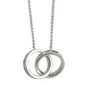 【奢華時尚】Tiffany 1837 雙戒環結墜飾925純銀項鍊